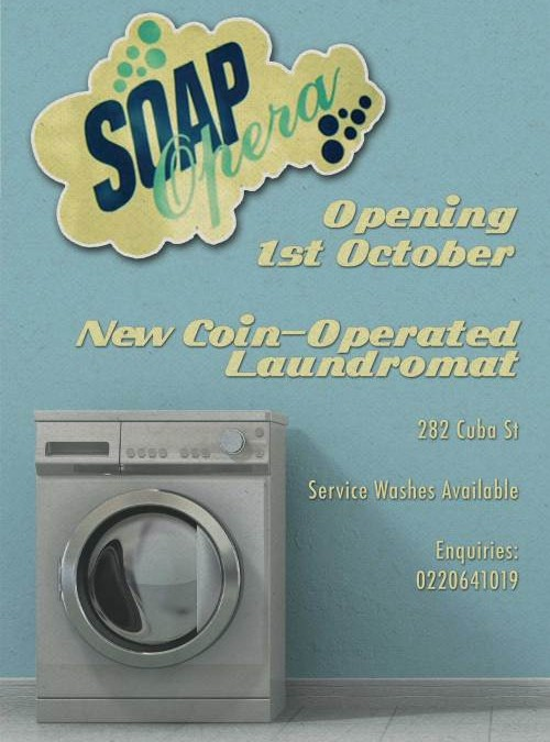 Business Flyers – Soap Opera Wellington – The Washing Machine is the Star