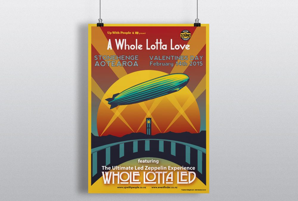 Concert Poster Design for A Whole Lotta Led at Aotearoa Stonehenge, Wairarapa