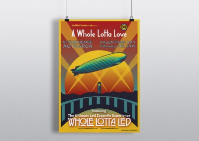 Concert Poster Design for A Whole Lotta Led at Aotearoa Stonehenge, Wairarapa