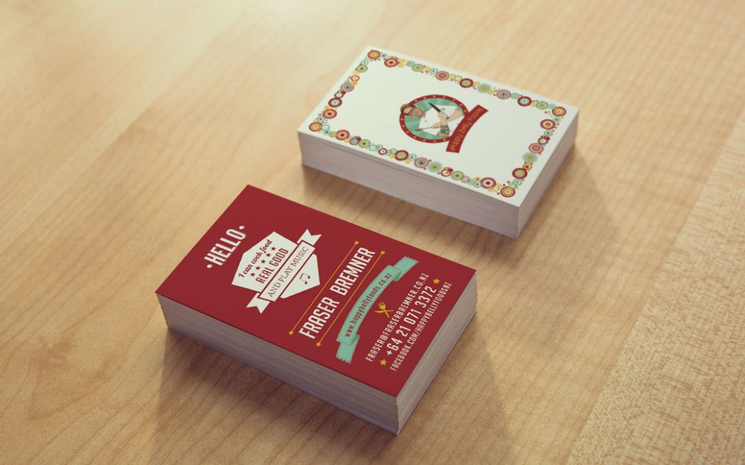 Business Card Design for Happy Belly Foods, Wellington