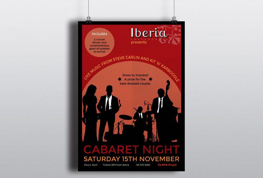 Poster Design for Cabaret Night at Iberia in Masterton