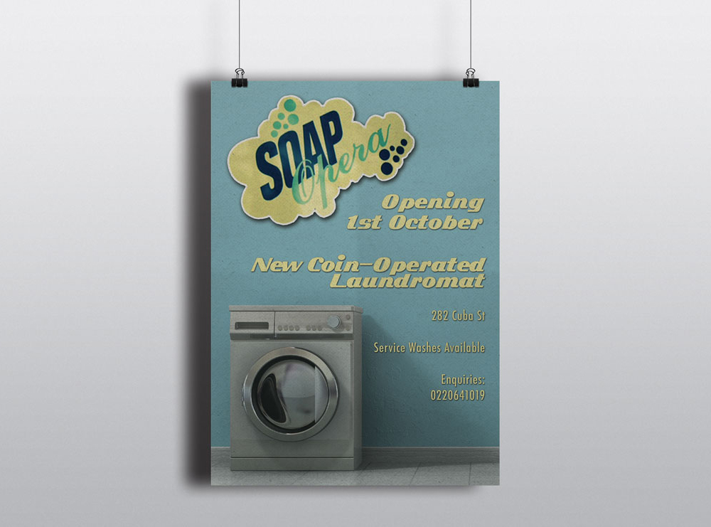 Flyer Design for Wellington Based Launderette Soap Opera