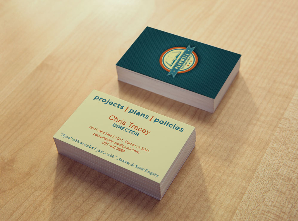 Business Card Design fort Planwell Services, Carterton