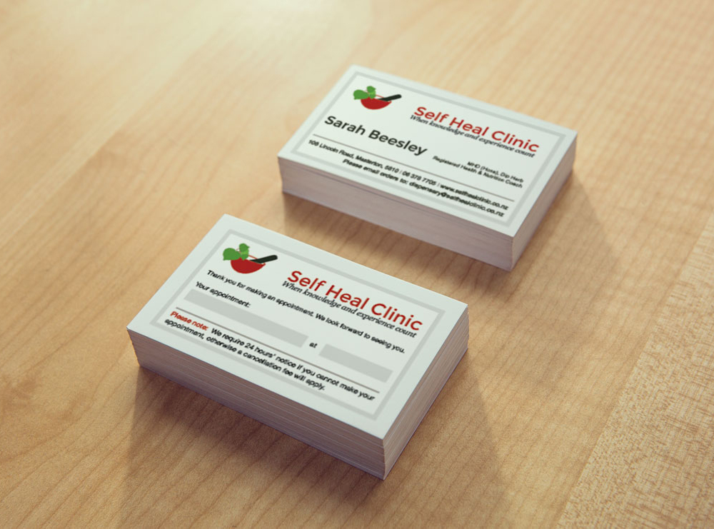 Business Card Design - The Self Heal Clinic Masterton
