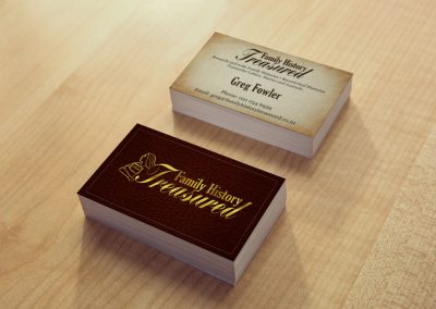 Business Card Design – Family History Treasured
