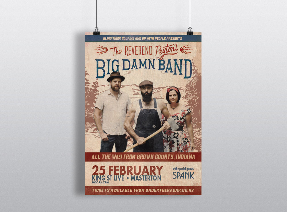 Poster Design for Reverend Peytons Big Damn Band from USA