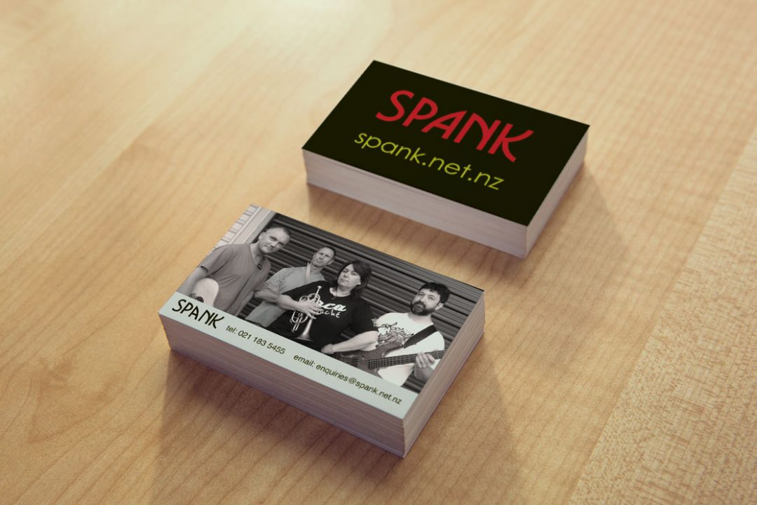 Business card design wairarapa band spank business card design business card design colourmoves