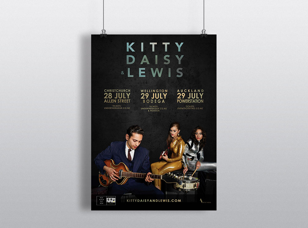 Kitty Daisy and Lewis Poster Design New Zealand