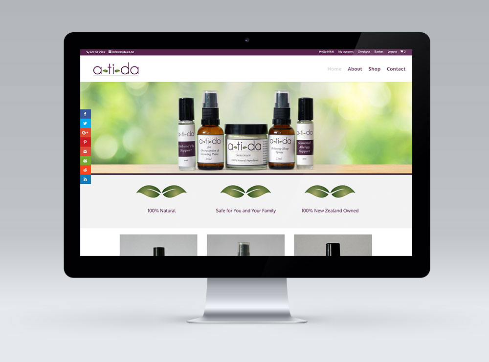 A-ti-da Website Design featuring WordPress and Woocommerce